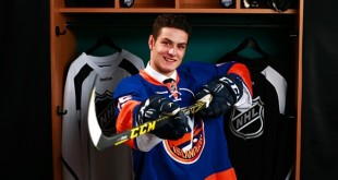 SUNRISE, FL - JUNE 26:  Mathew Barzal poses for a portrait after being selected 16th overall by the New York Islanders during Round One of the 2015 NHL Draft at BB&T Center on June 26, 2015 in Sunrise, Florida.  (Photo by Jeff Vinnick/NHLI via Getty Images)