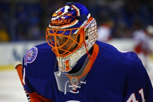 Jaroslav Halak skates during warmups